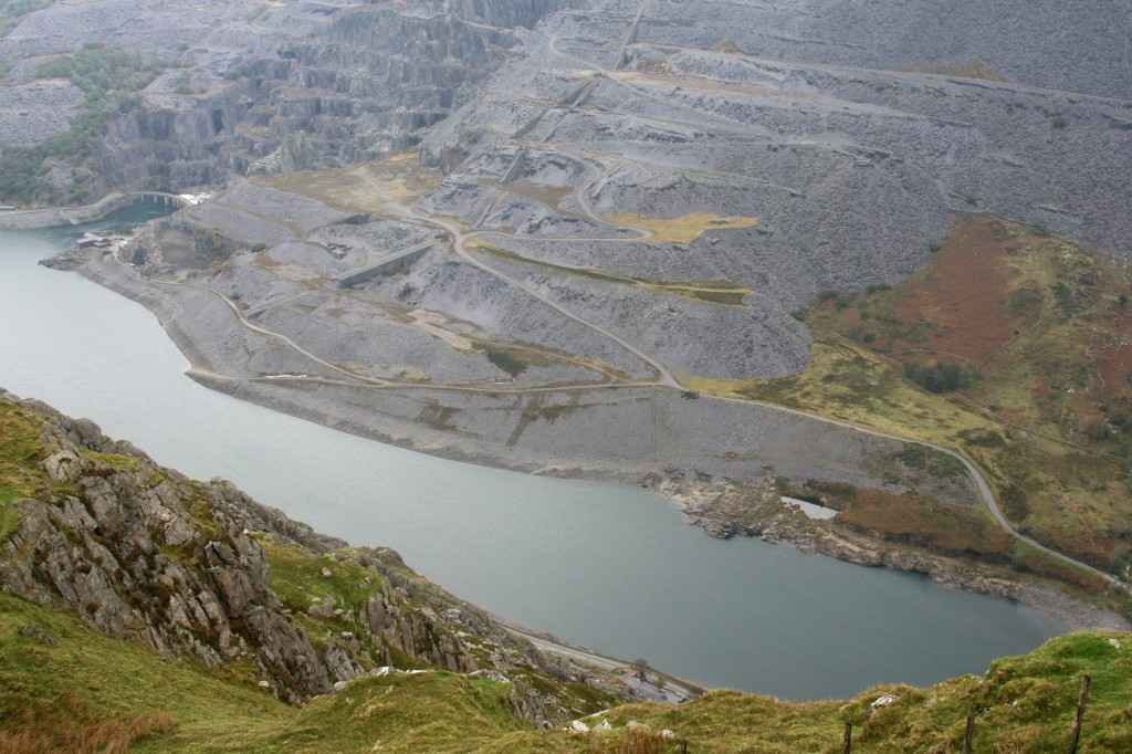 looking down on Llyn Peris and the slate mine
