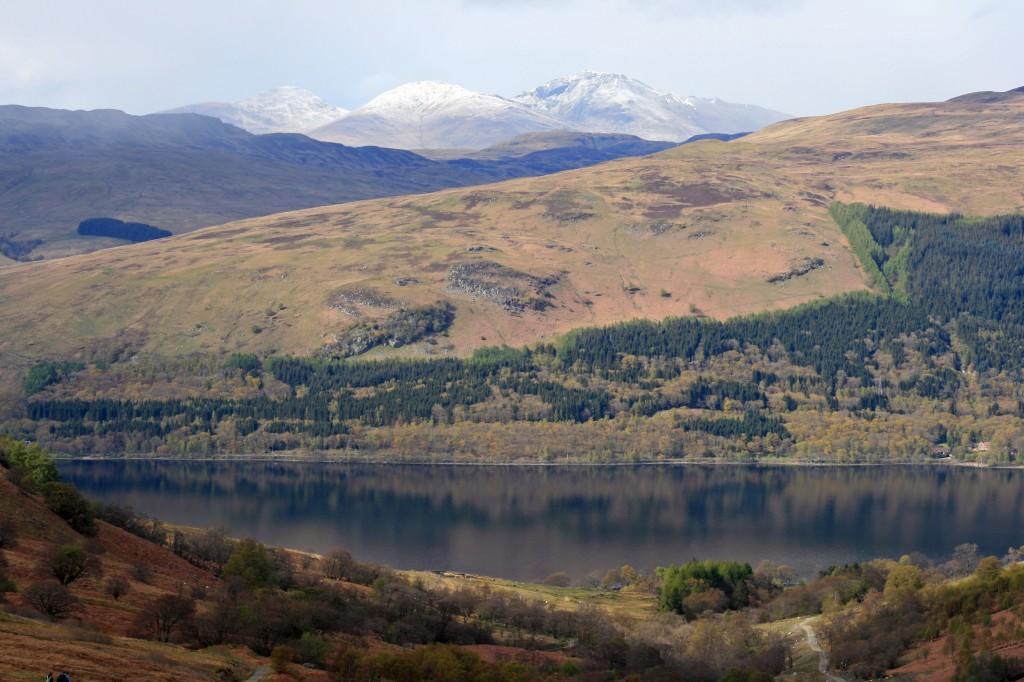 view across Loch Earn towards Ben Lawers