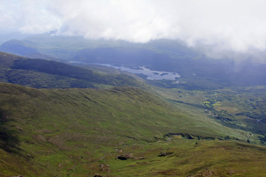 looking SE from Cruach Mhor towards the Upper Lake and Mangerton Mountain