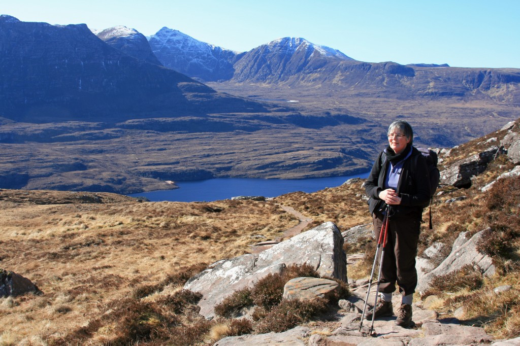on the new path round the eastern end, looking across to Cul Mor and Ben More Coigach