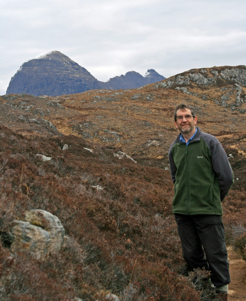 first glimpse of Suilven from the path above the River Kirkaig
