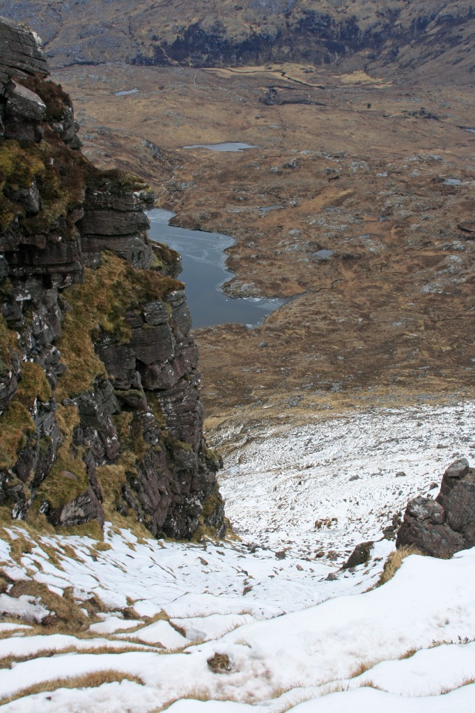 the snow-filled gully on the north side - best ascent route in summer!