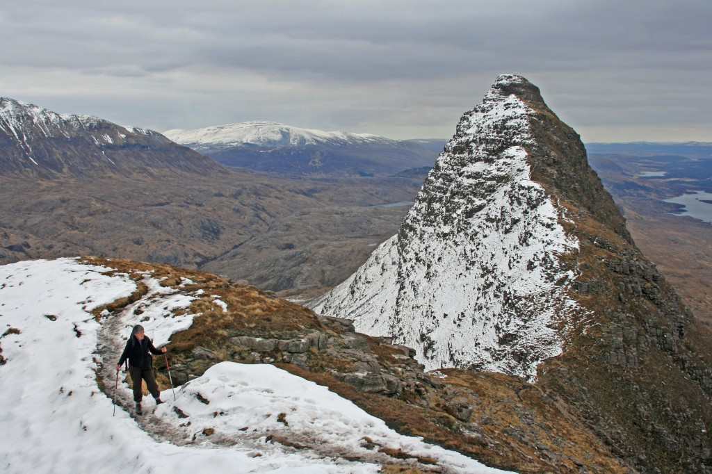 looking back along the ridge to Meall Meadhonach, Suilven's lower summit