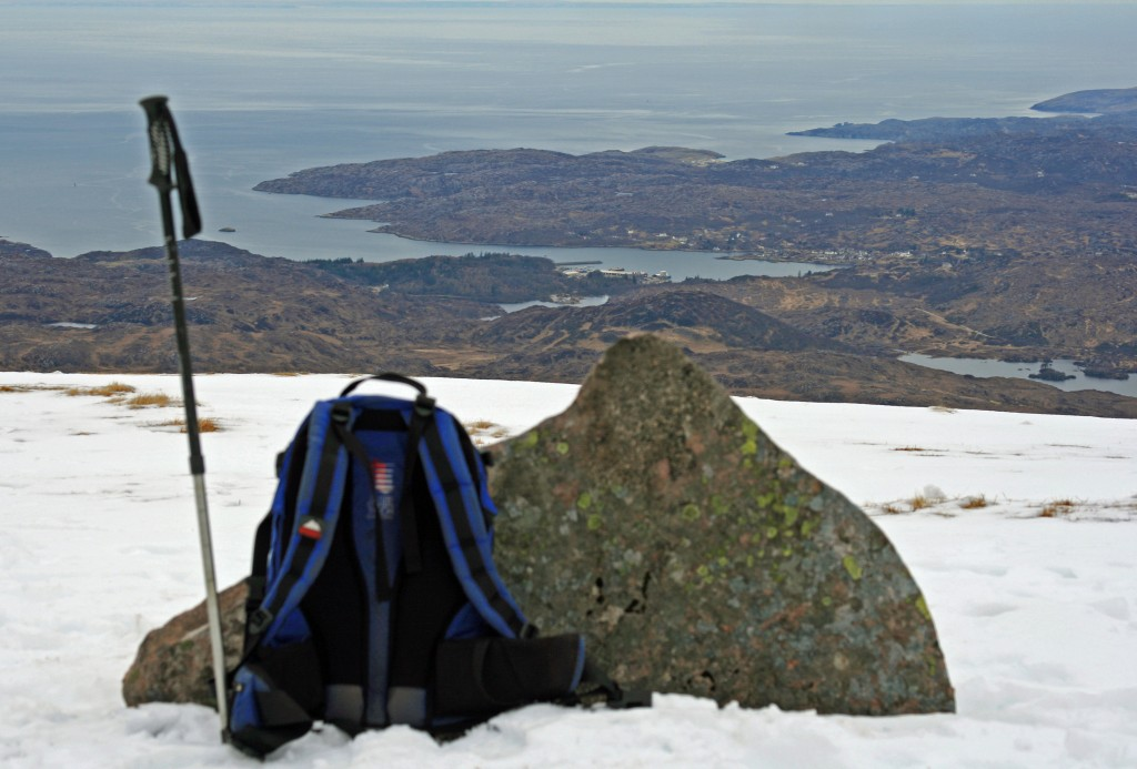 on the summit of Suilven, looking towards Lochinver