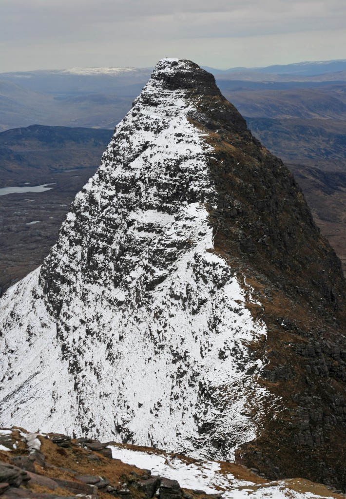 Meall Mheadhonach, from Caisteal Liath - an exciting scramble in summer - looking pretty impregnable in winter coat