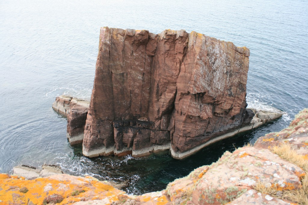 from one side of the split rock to the other