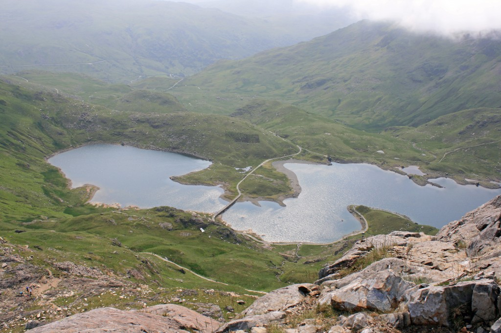 looking down to Llyn Llydaw from the top of the steepest section