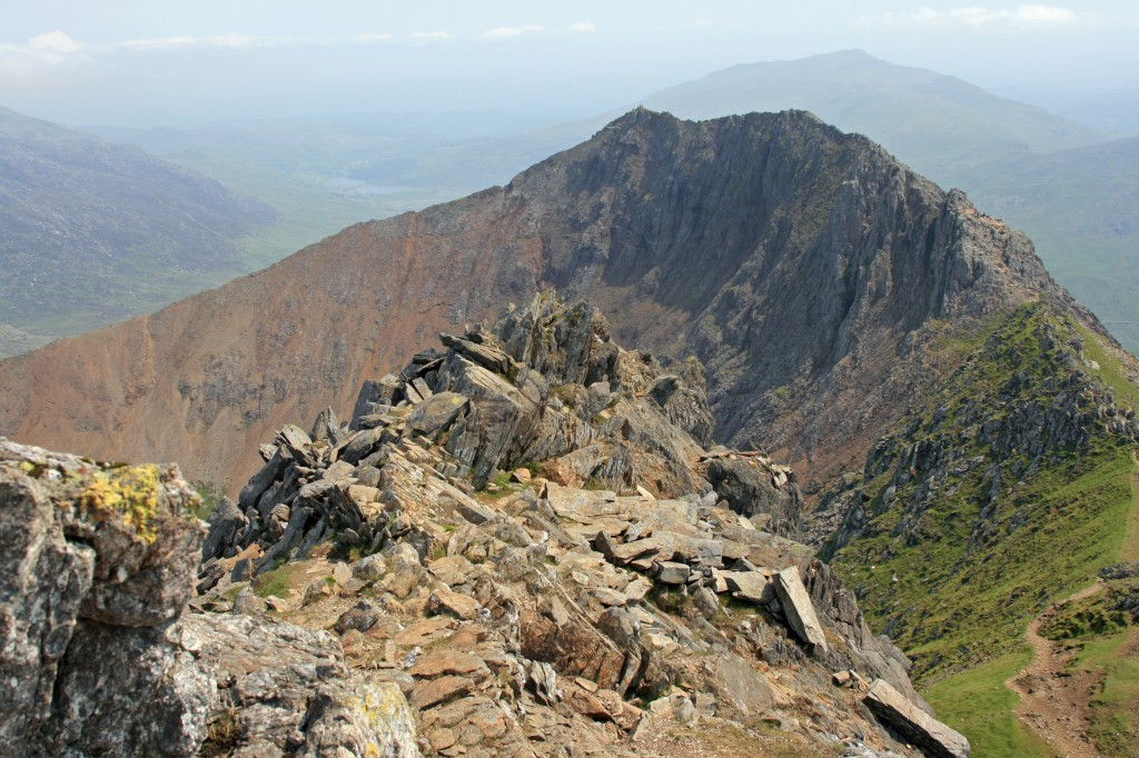 looking back to Crib Goch from crags of Crib Y Ddrysgl