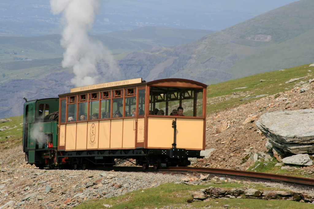 steam train approaching the col below the summit of Snowdon