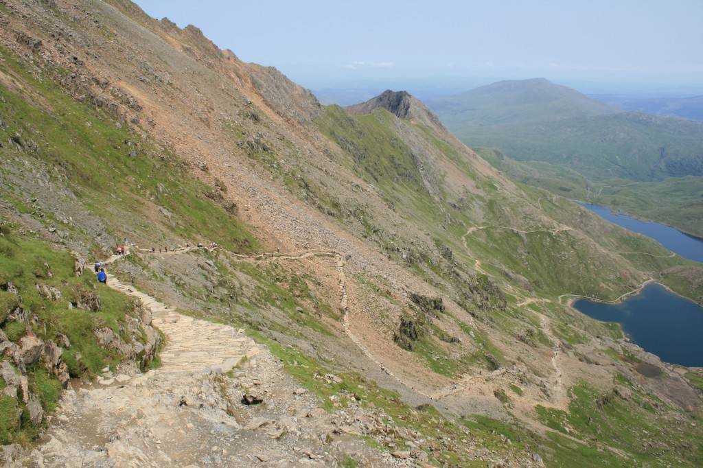 view from the top of the Pyg track, with Crib Goch on the left