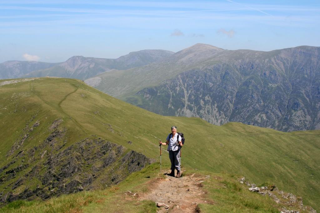 Anne heading up the summit ridge of Elidir Fawr