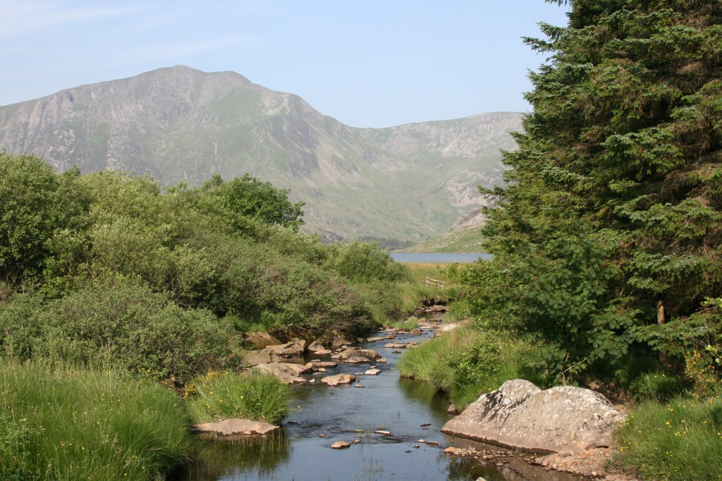 view towards Y Garn as we crossed the Afon Llugwy at the start of our walk