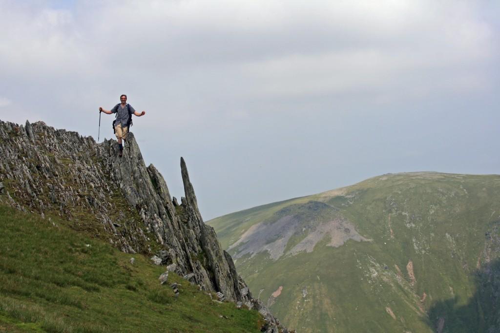 on the summit of Yr Elen, with Garnedd Uchaf in the distance