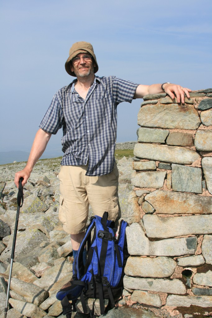 David at the summit cairn of Foel-fras, his final Welsh 3000!
