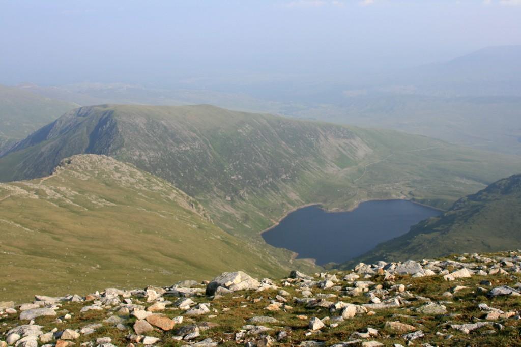 from Carnedd Llewelyn, view towards Pen Yr Helgi Du and the Ffynnon Llugwy resevoir