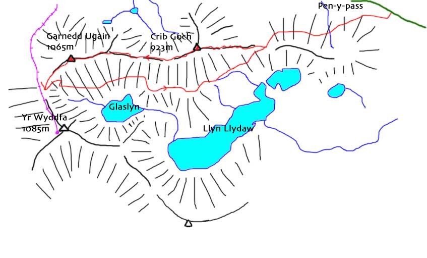 map of Snowdon horseshoe