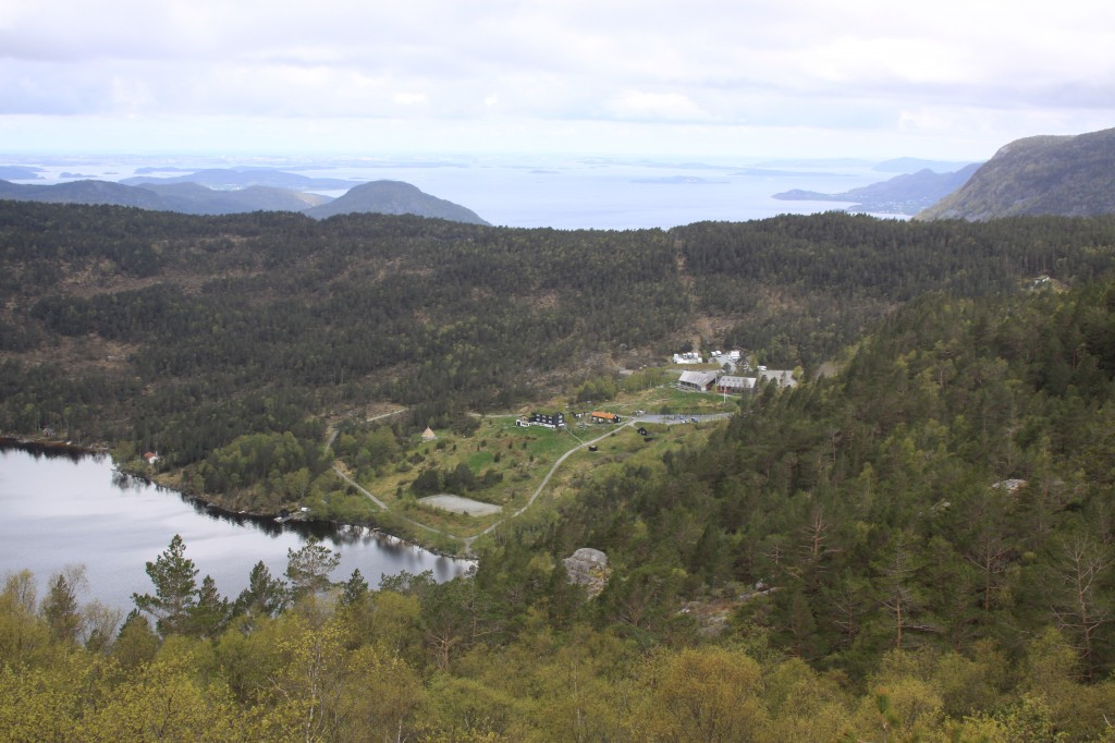 view back down to Fjellestue, with Stavanger in the distance