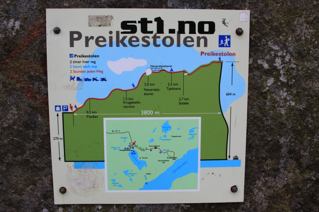 nice signs to show our progress towards Preikestolen