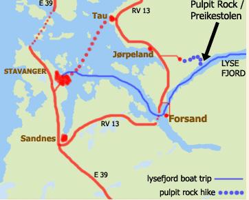 map of route from Stavanger to Preikestolen